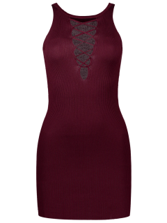 Sleeveless Lace Up Knitted Bodycon Dress - Wine Red