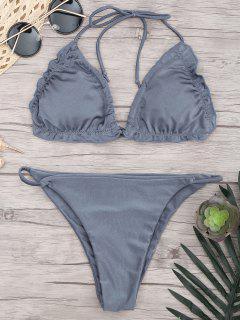 Bikinis Paddé à Lanières  - Bleu-gris S