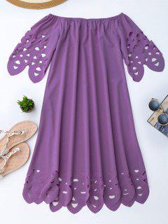 Off The Shoulder Flared Dress - Purple M