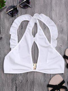 Ruffles Cut Out Cropped Top - White S