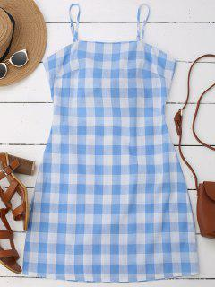 Slip Tie Back Plaid Dress - Blue L