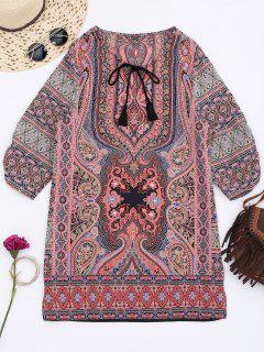 Robe Tunique Imprimée Tribale à Noeud Frontal - Multi L