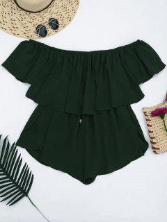 Off Shoulder Drawstring Waist Chiffon Romper - Blackish Green S