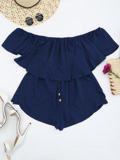 Mono Femenino De Gasa Con Cordón En Cintura Con Hombros Al Aire - Azul Marino  S