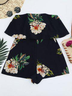 Floral Strapless Ruffle Romper - Purplish Blue S