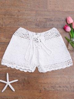 Lace Up Crochet Beach Swim Shorts - White M
