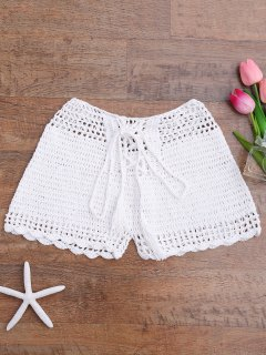 Lace Up Crochet Beach Swim Shorts - Weiß S
