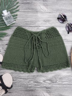 Lace Up Crochet Beach Swim Shorts - Blackish Green S
