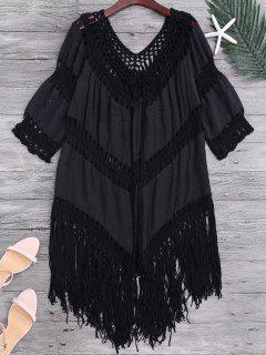 Tassels Open Front Boho Beach Cover Up - Black