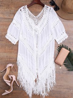 Tassels Abierto Abierto Boho Beach Cover Up - Blanco