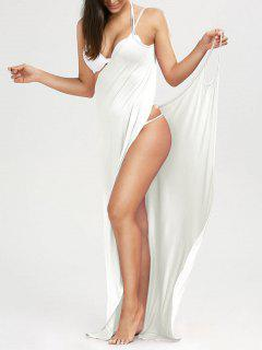 Beach Maxi Wrap Slip Dress - White M
