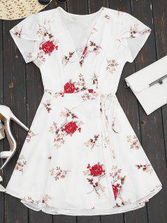 Plunge Cap Sleeve Floral Wrap Dress - White L