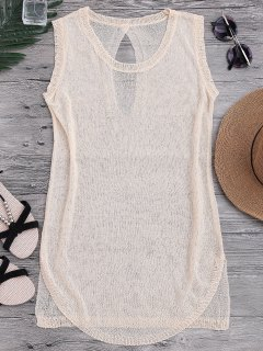 See-Through Beach Cover Up Tank Dress - Beige