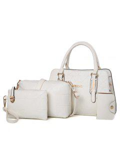 4 Pieces Geometric Handbag Set - Off-white