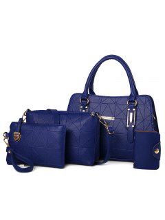 4 Pieces Geometric Handbag Set - Blue
