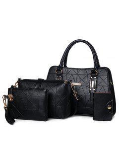 4 Pieces Geometric Handbag Set - Black