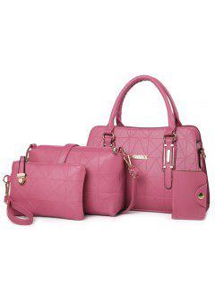4 Pieces Geometric Handbag Set - Pink