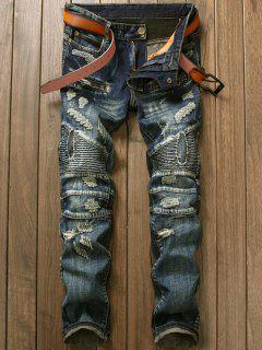 Zipper Ripped And Repaired Biker Jeans - Denim Blue 34
