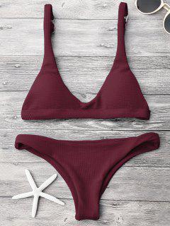 Low Waisted Padded Scoop Bikini Set - Burgundy M