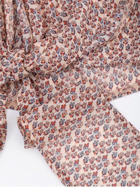 Blouse d'enveloppe imprimée de motif floral - Multi XL Mobile