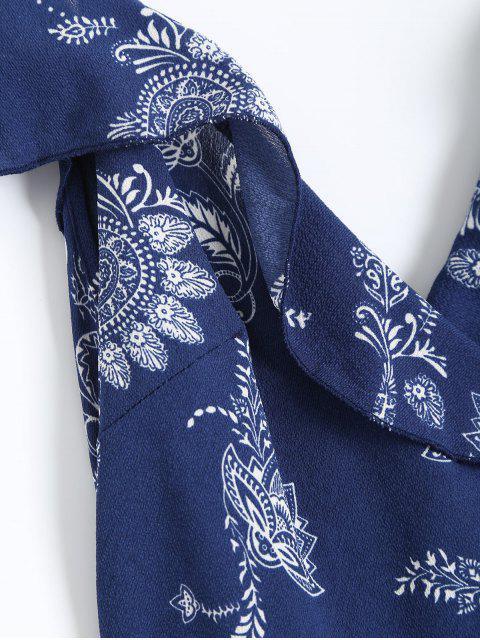 Robe plissée à longueur Maxi à épaules dénudées imprimée de motif paisley - Bleu Violet S Mobile