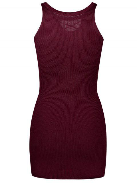 outfit Sleeveless Lace Up Knitted Bodycon Dress - WINE RED ONE SIZE Mobile
