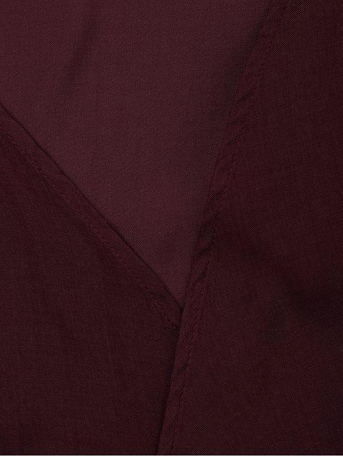 Criss Cross Cropped Wrap Top - Rouge vineux  XL Mobile
