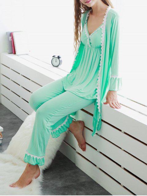 shops 3 Pieces Lace Open Front Sleepwear Suits - LIGHT GREEN M Mobile