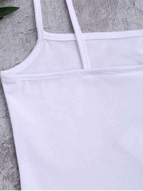 Débardeur court en coton imprimé lettres - Blanc TAILLE MOYENNE Mobile