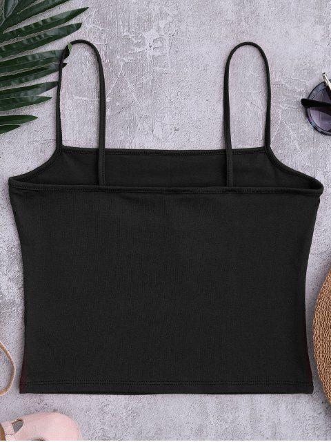 affordable Cotton Letter Cropped Tank Top - BLACK ONE SIZE Mobile
