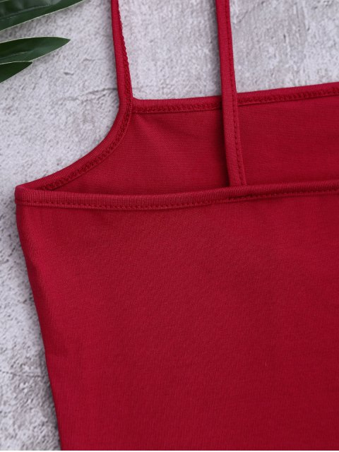 buy Cotton Letter Cropped Tank Top - RED ONE SIZE Mobile