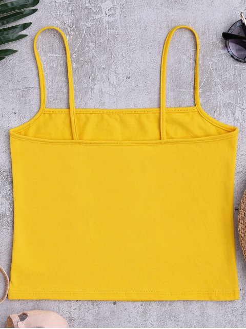 womens Cotton Letter Cropped Tank Top - YELLOW ONE SIZE Mobile