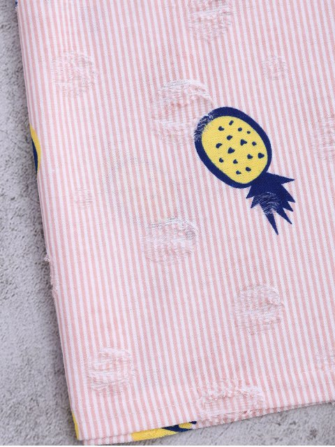 latest Stripes Pineapple Ripped Top - PINK ONE SIZE Mobile