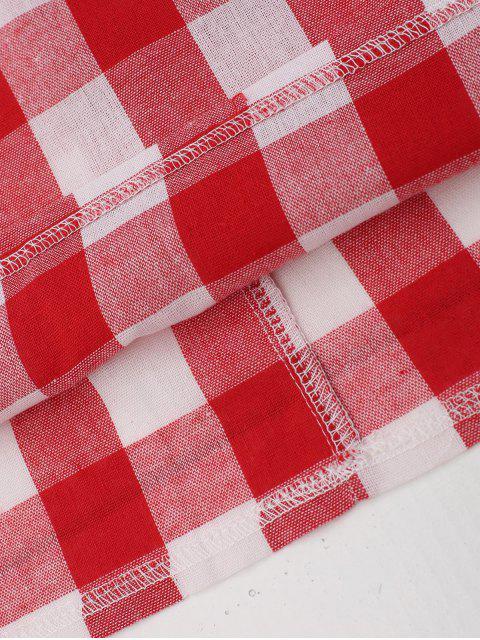 women's Slip Tie Back Plaid Dress - RED M Mobile