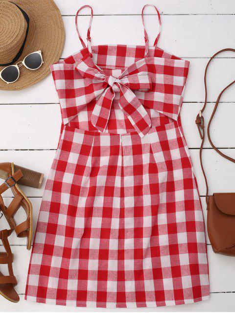 ladies Slip Tie Back Plaid Dress - RED L Mobile