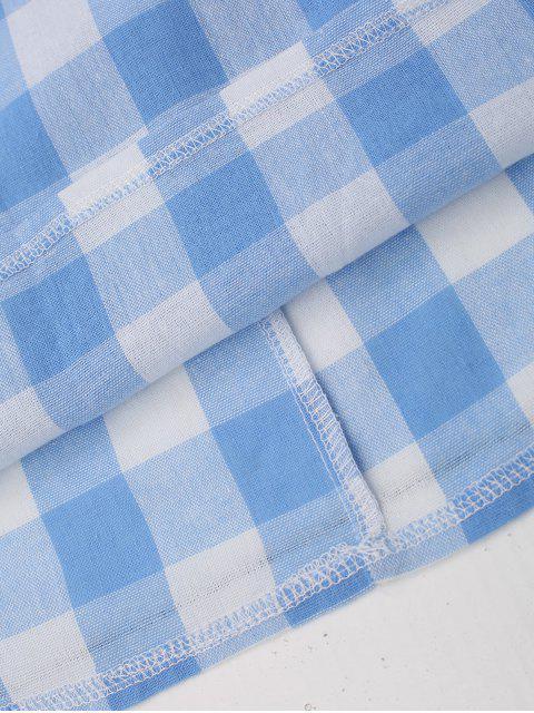 outfit Slip Tie Back Plaid Dress - BLUE XL Mobile