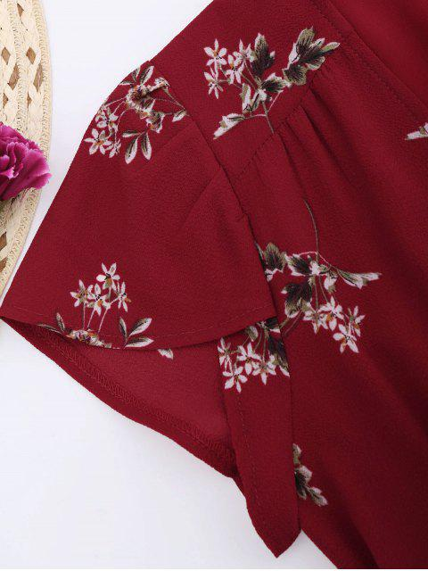 trendy Floral Cap Sleeve Wrap Dress - RED M Mobile