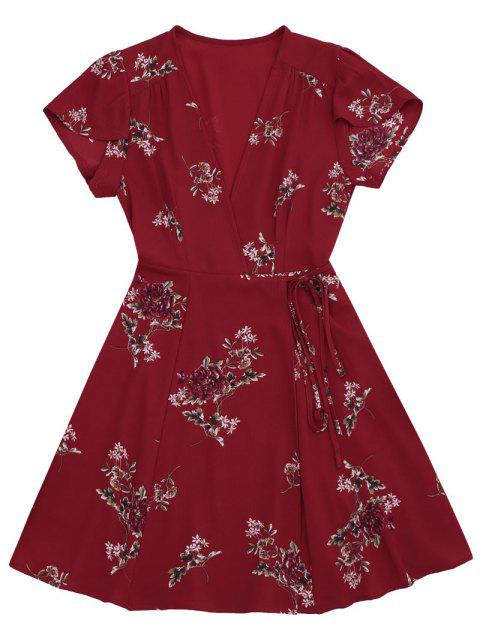 fashion Floral Cap Sleeve Wrap Dress - RED L Mobile