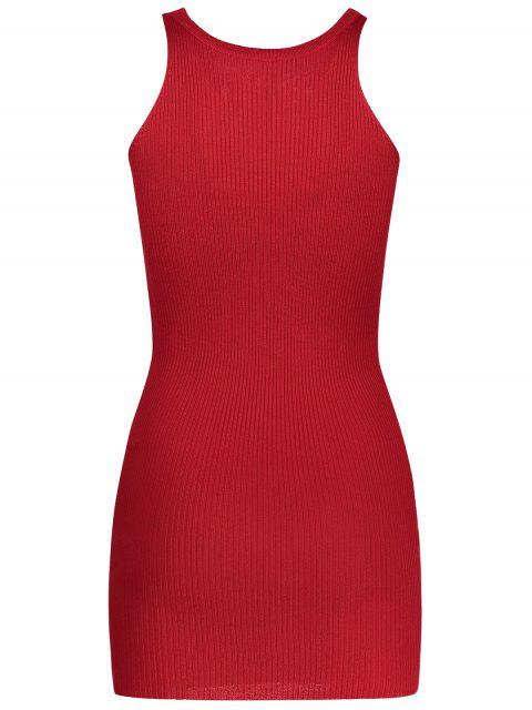 Robe collante tricot embelli lacet sans manches - Rouge TAILLE MOYENNE Mobile
