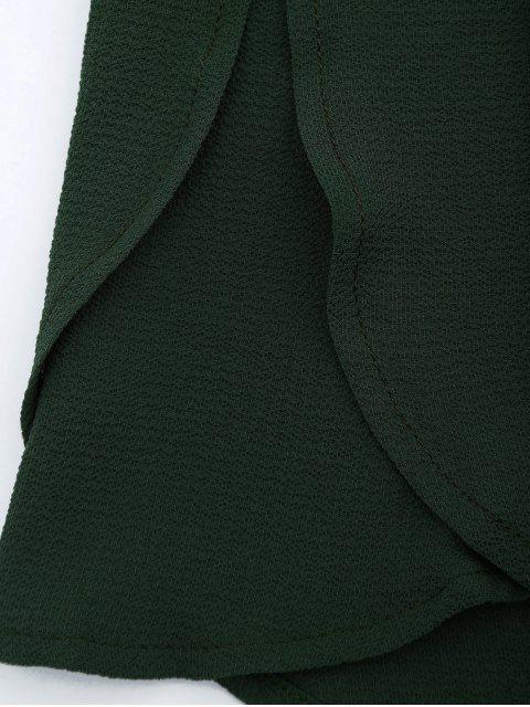 lady Off Shoulder Drawstring Waist Chiffon Romper - BLACKISH GREEN M Mobile