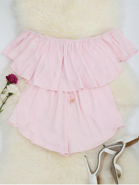 new Off Shoulder Drawstring Waist Chiffon Romper - PINK M Mobile