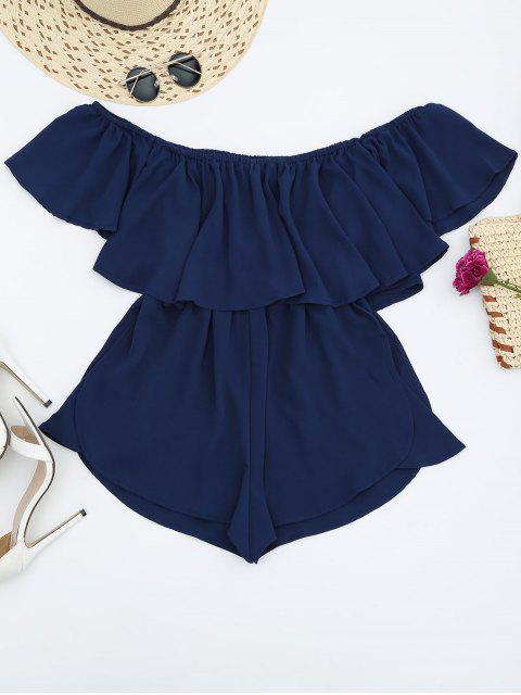 Combishorts en mousseline de soie à épaules tombantes avec lacet à la taille - Bleu Cadette S Mobile