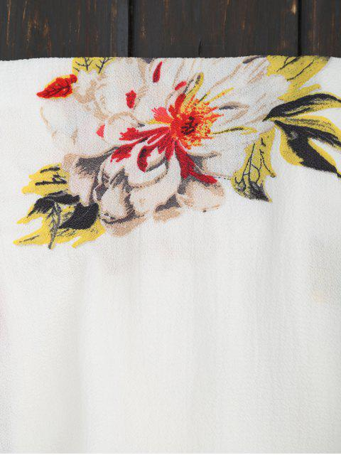 fancy Floral Strapless Ruffle Romper - WHITE L Mobile