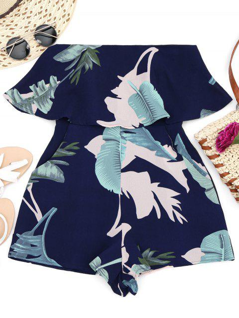 hot Overlay Leaf Print Tube Romper - MULTI L Mobile