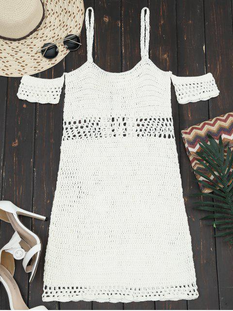 shops Hollow Out Lace Up Cami Knit Dress - OFF-WHITE XL Mobile