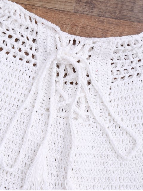 latest Lace Up Crochet Beach Swim Shorts - WHITE M Mobile