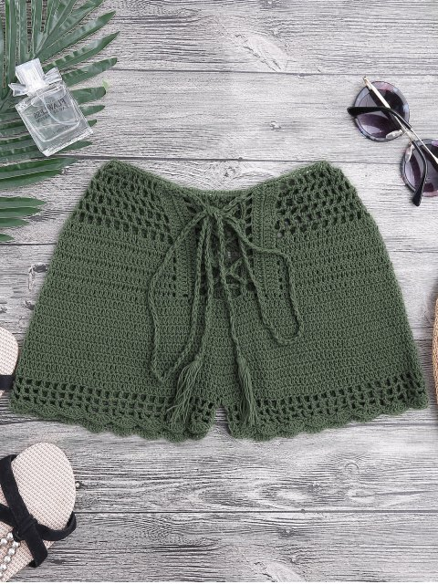 chic Lace Up Crochet Beach Swim Shorts - BLACKISH GREEN S Mobile