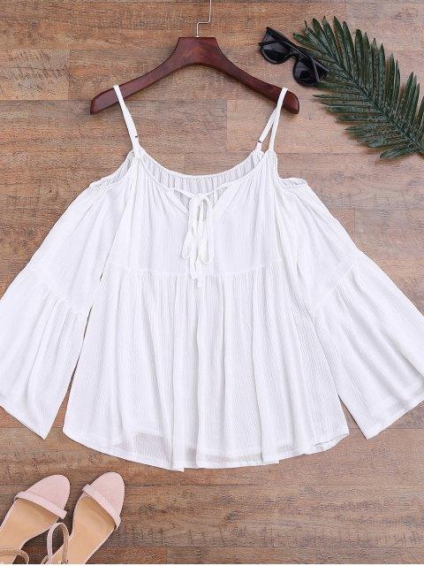Top blouse de plage à épaules dénudées à manches évasées - Blanc Taille Unique Mobile