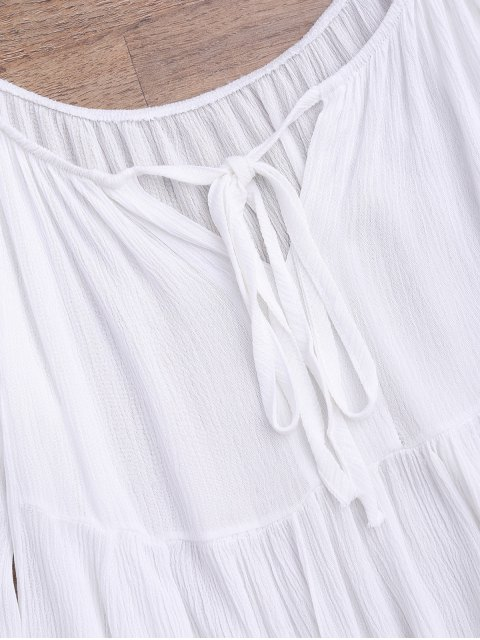 lady Flare Sleeve Cold Shoulder Beach Cover Up Top - WHITE ONE SIZE Mobile