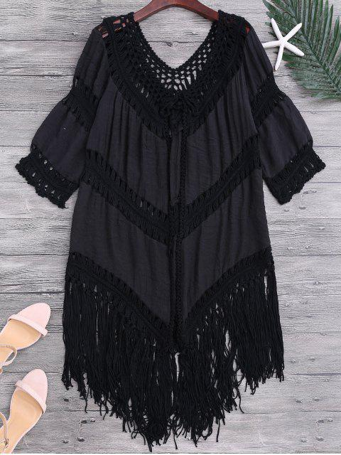 best Tassels Open Front Boho Beach Cover Up - BLACK ONE SIZE Mobile
